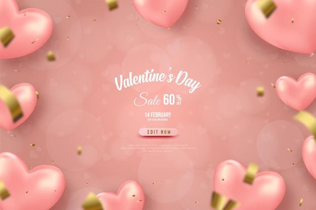 Valentine's day sale with  pink love balloon banner.