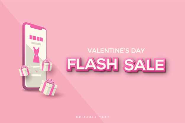 Valentine's day sale with pink  smartphone.