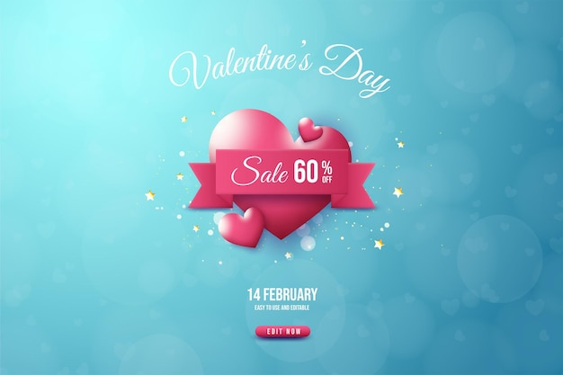 Valentine's day sale with  red love balloon illustration.