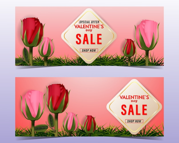 Valentine's day sale with roses background banner set.