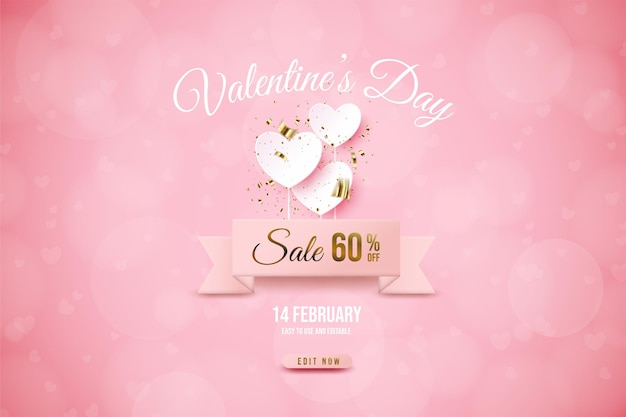 Valentine's day sale with white love plate banner.