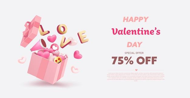 Распродажа ко дню святого валентина Premium векторы