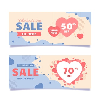Valentine's day sales banners illustrated