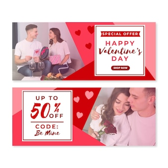 Valentine's day sales banners
