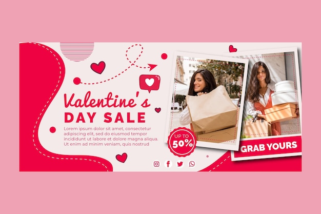 Valentine's day sales horizontal banner template