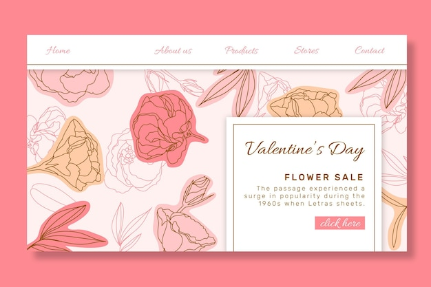 Valentine's day sales landing page Free Vector