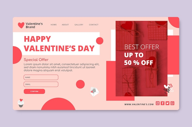 バレンタインデーの販売ランディングページ