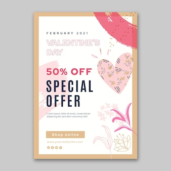 Valentine's day sales poster template