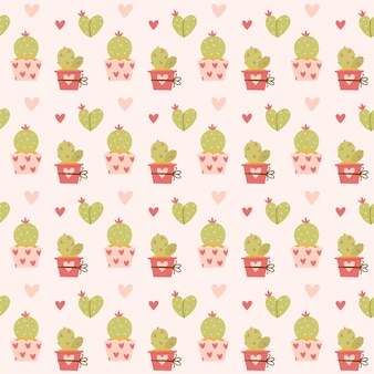 Valentine's day seamless pattern cactus and hearts
