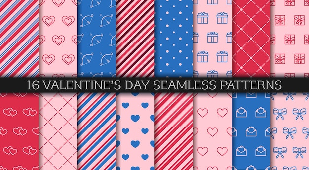 Valentine's day seamless pattern collection.