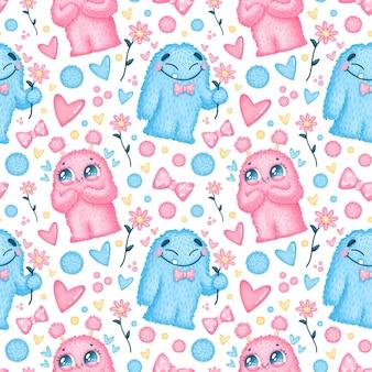 발렌타인 데이 완벽 한 패턴입니다. 사랑 완벽 한 패턴에 귀여운 괴물입니다.