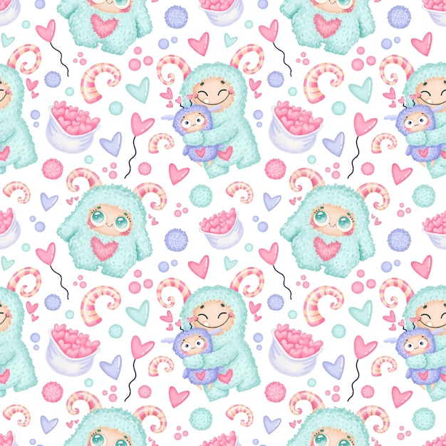 Valentine's day seamless pattern. cute monsters in love seamless pattern.