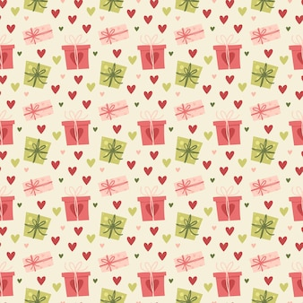 Valentine's day seamless pattern gifts and hearts. greeting card or invitation in trendy style.