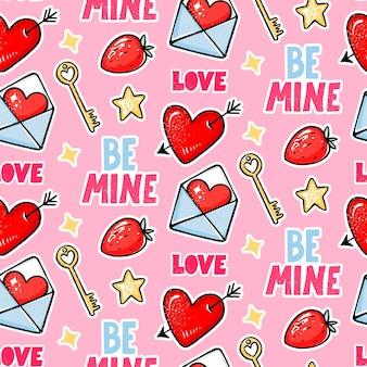 День святого валентина бесшовные модели. любовь, сердце со стрелой, клубникой, ключом и надписью be mine.