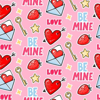 Valentine's day seamless pattern. love, heart with arrow, strawberry, key and be mine lettering.