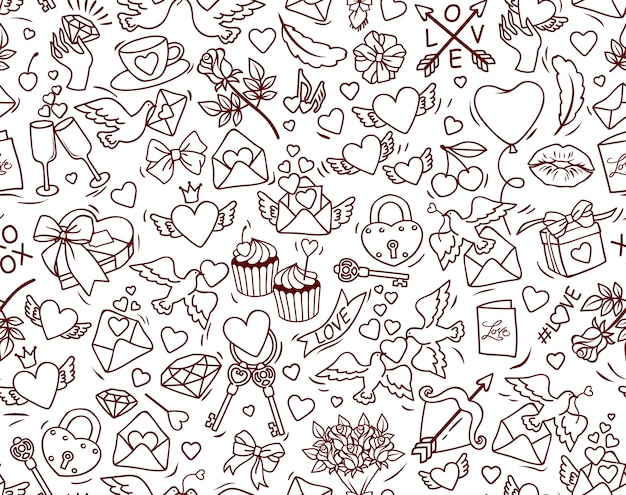 Valentine's day  seamless pattern. many cute cartoon elements on white background.