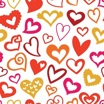 Valentine's day seamless pattern of red hearts, vector illustration