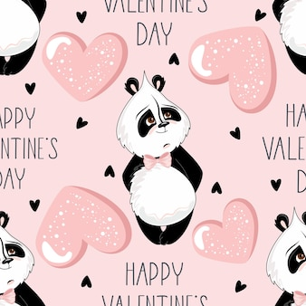 Valentine's day   seamless pattern. romantic panda with festive elements.