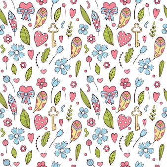 Valentine's day seamless pattern with colorful flowers