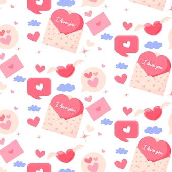 封筒とハートのバレンタインデーのシームレスなパターン
