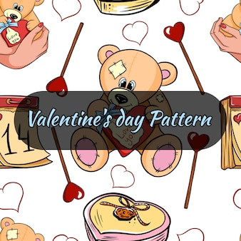Valentine's day seamless pattern with hearts and teddy bear