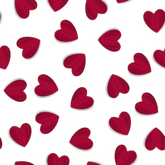 Valentine's day seamless pattern with paper craft origami style heart shape