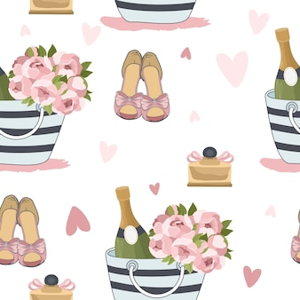 Valentine's day seamless pattern with romantic elements.