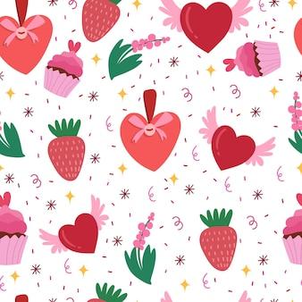 딸기, 하트, 케이크와 발렌타인 데이 완벽 한 패턴입니다.