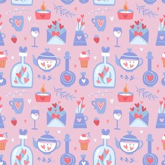 ティーポットとバレンタインデーのシームレスなパターン