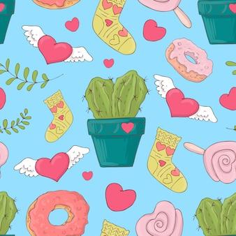 Valentine s day seamless patterns.