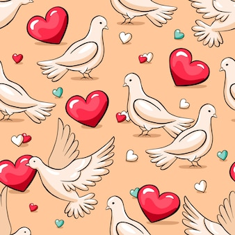 Valentine's day seamless vector pattern with pigeons and hearts