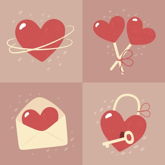 Valentine's day - set of cards in flat style.