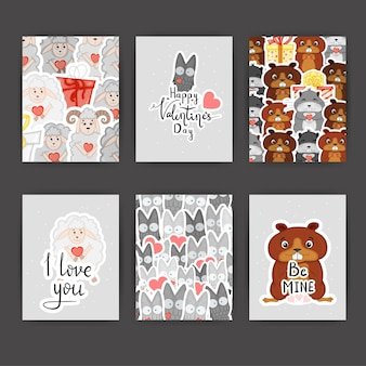 Valentine's day set of cards and patterns. cartoon style. vector illustration.