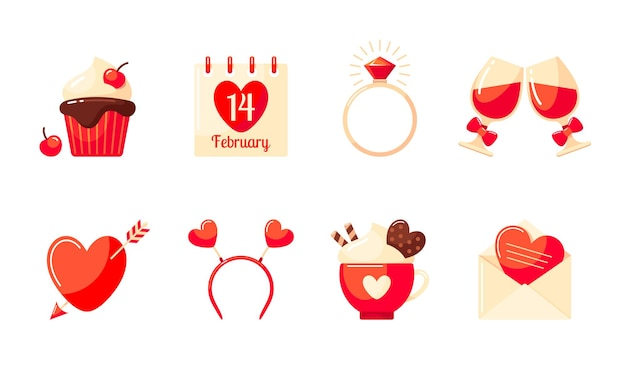 Valentine's day set. cupcake, valentine card, glasses of red wine, hair band, ring, calendar, cocoa and heart