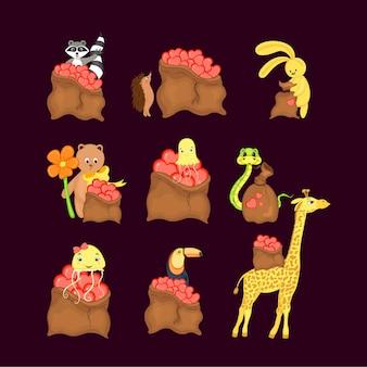 Valentine's day set of cute animals. cartoon style.