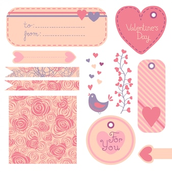 Valentine's day set of design elements.