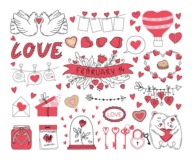 Valentine's day set of elements on a white background.  illustration.
