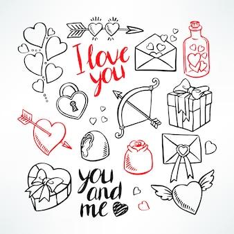 バレンタインデーセット。ハート、ギフト、お菓子。手描きイラスト
