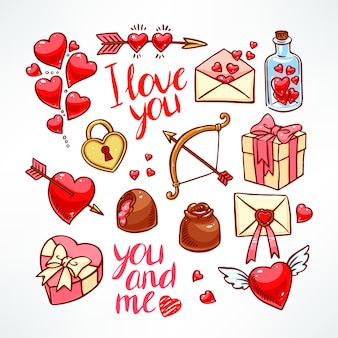 발렌타인 데이 세트. 하트, 선물, 과자. 손으로 그린 그림