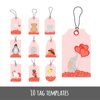 Valentine's day set of holiday labels with cute animals.