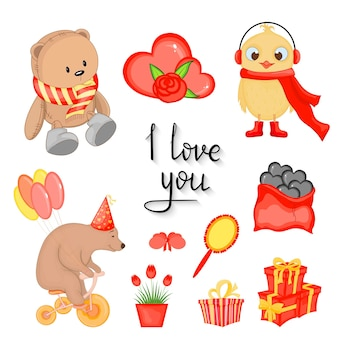 Valentine's day set of holiday objects. cartoon style. vector illustration.