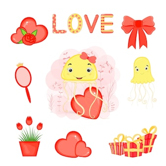 Valentine's day set of holiday objects. cartoon style.