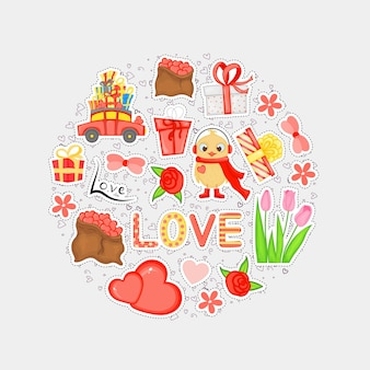 Valentine's day set of holiday stickers. cartoon style. vector illustration.