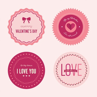 Valentine`s day set of label and banner.