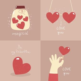발렌타인 데이-플랫 스타일의 카드 세트.