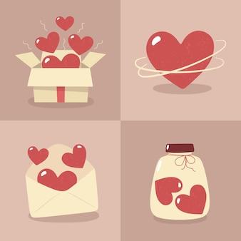 バレンタインデー-フラットスタイルのカードのセット。