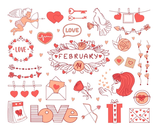 День святого валентина набор элементов на белом фоне. иллюстрация.