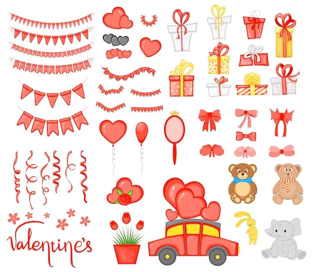 День святого валентина набор праздничных объектов. мультяшный стиль. векторная иллюстрация.