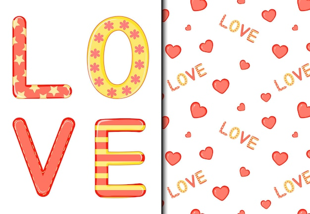 パターンとポストカードのバレンタインデーのセット。漫画のスタイル。ベクトルイラスト。
