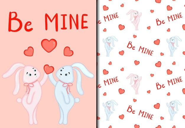 발렌타인 데이 세트에는 귀여운 토끼가 있는 패턴과 엽서가 있습니다. 만화 스타일입니다. 벡터 일러스트 레이 션.